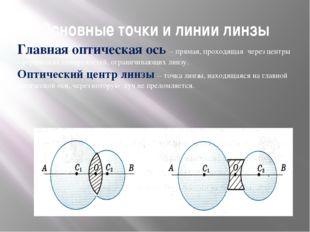 Основные точки и линии линзы Главная оптическая ось – прямая, проходящая чере