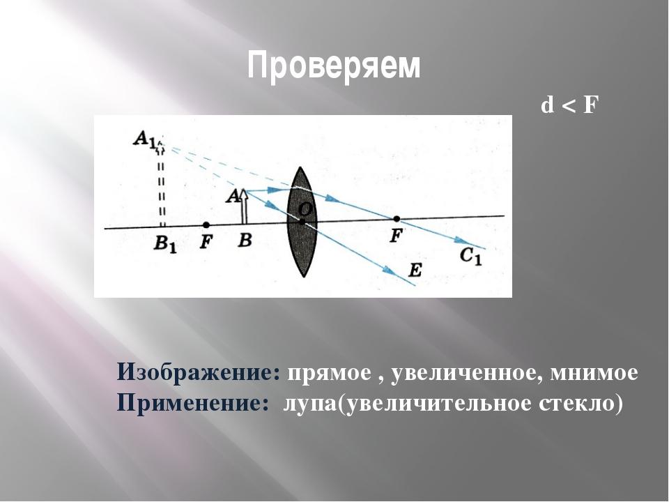 Проверяем Изображение: прямое , увеличенное, мнимое Применение: лупа(увеличит...