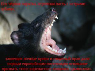 Его чёрная окраска, огромная пасть с острыми зубами, зловещие ночные крики и