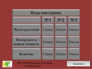 АНО «Центр Развития Молодежи» г. Екатеринбург, 2016 Закончить