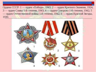 Ордена СССР: 1 — орден «Победа», 1943; 2 — орден Красного Знамени, 1924; 3 —
