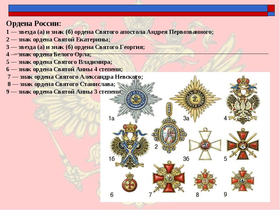 Ордена России: 1 — звезда (а) и знак (б) ордена Святого апостола Андрея Перв...