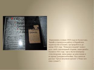 Вернувшись осенью 1919 года из Казахстана, Чавайн устроился на работу в Мари