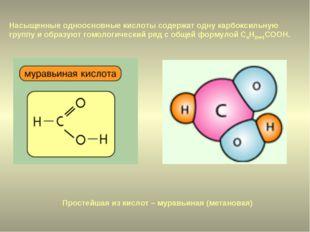 Простейшая из кислот – муравьиная (метановая) Насыщенные одноосновные кислоты