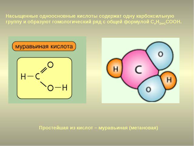 Простейшая из кислот – муравьиная (метановая) Насыщенные одноосновные кислоты...