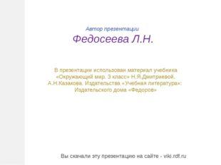 Автор презентации Федосеева Л.Н. В презентации использован материал учебника