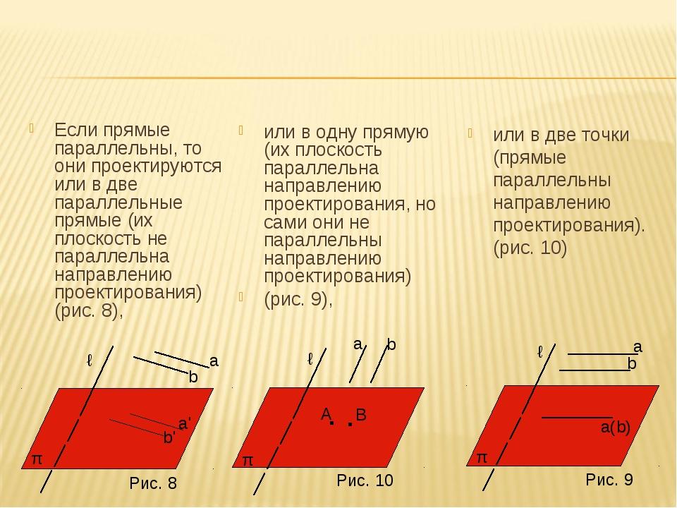 Если прямые параллельны, то они проектируются или в две параллельные прямые (...