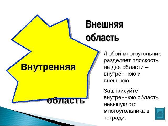 Внешняя область Внутренняя область Любой многоугольник разделяет плоскость на...