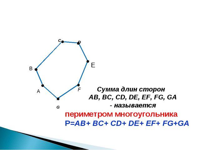 C F G B Сумма длин сторон AB, BC, CD, DE, EF, FG, GA - называется D E А перим...