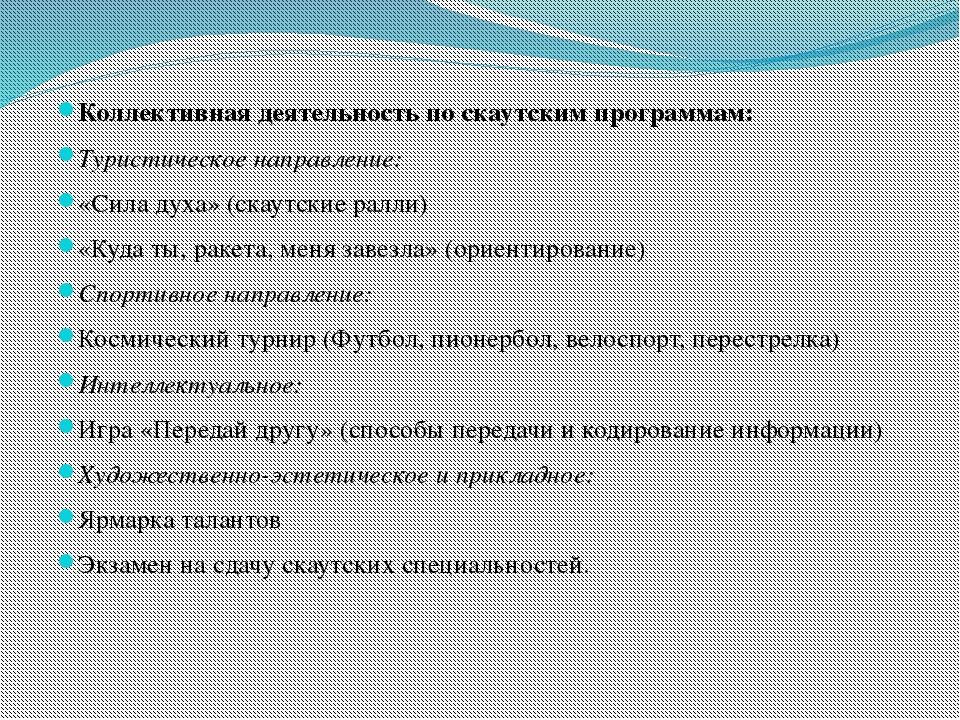 Коллективная деятельность по скаутским программам: Туристическое направление...