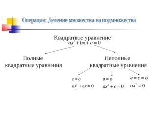 Квадратное уравнение Полные квадратные уравнения Неполные квадратные уравнения
