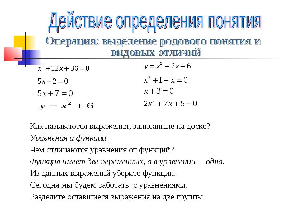 Как называются выражения, записанные на доске? Уравнения и функции Чем отлича...