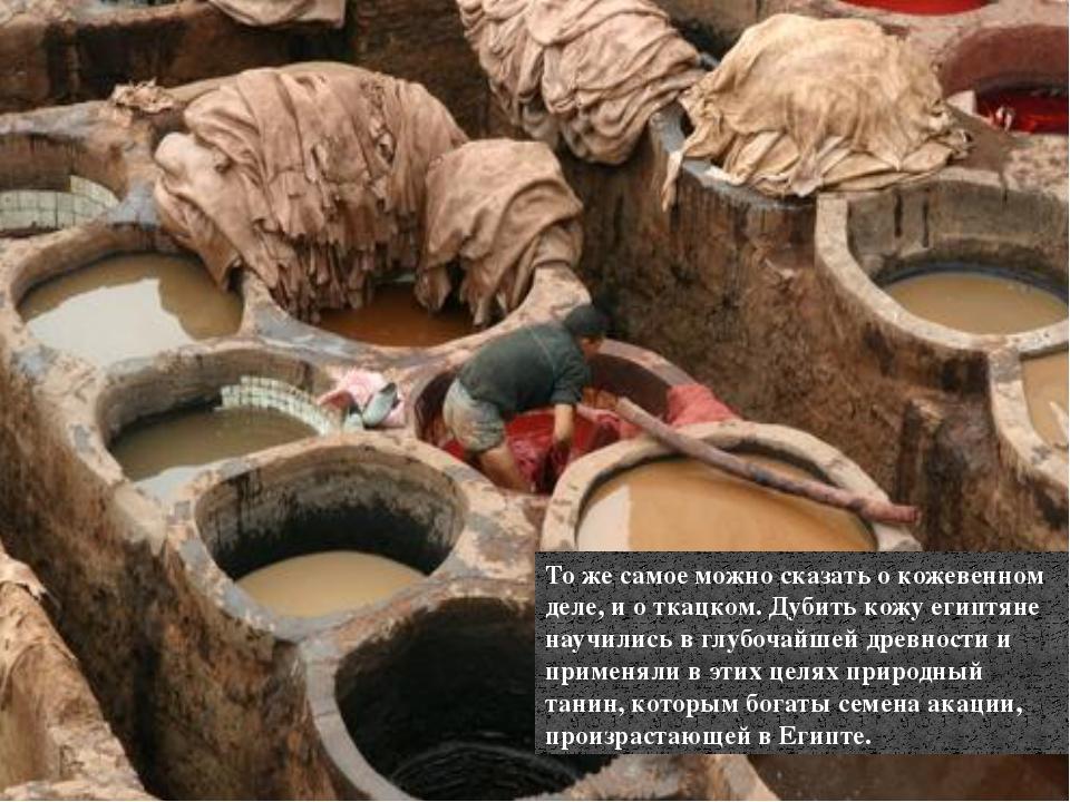 То же самое можно сказать о кожевенном деле, и о ткацком. Дубить кожу египтян...