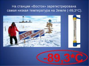 На станции «Восток» зарегистрирована самая низкая температура на Земле (-89,3
