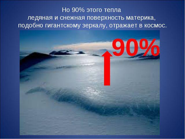 Но 90% этого тепла ледяная и снежная поверхность материка, подобно гигантском...