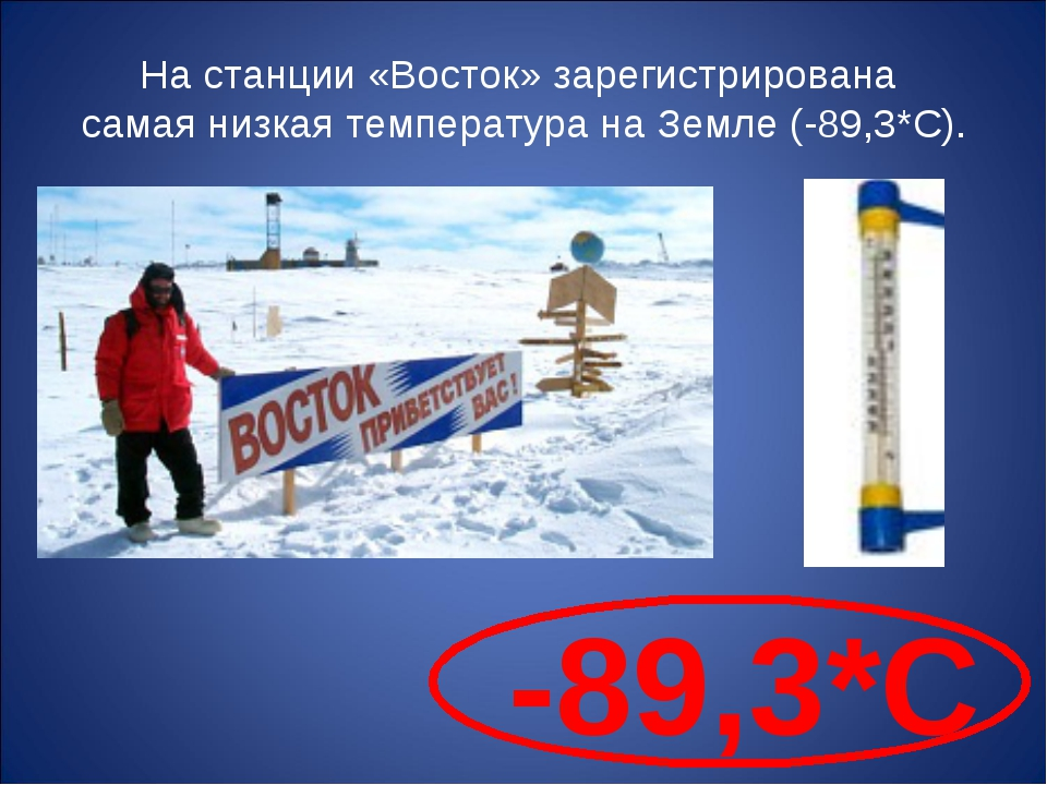 На станции «Восток» зарегистрирована самая низкая температура на Земле (-89,3...