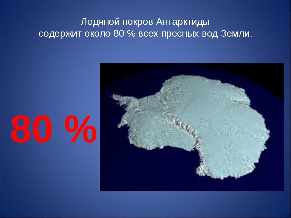 Ледяной покров Антарктиды содержит около 80 % всех пресных вод Земли. 80 %