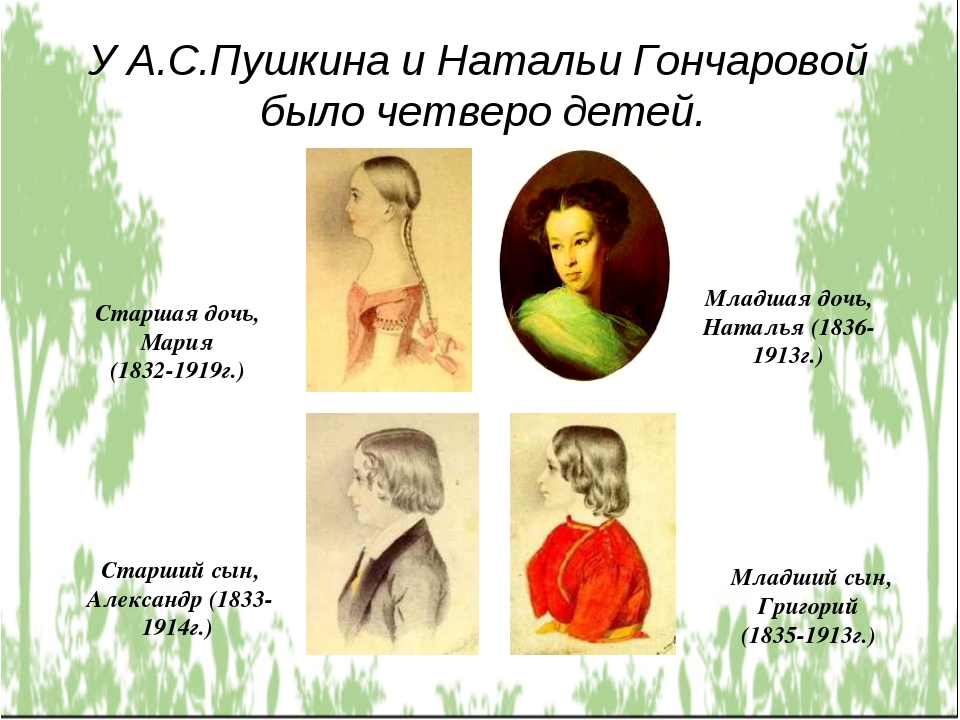 У А.С.Пушкина и Натальи Гончаровой было четверо детей. Старшая дочь, Мария (1...