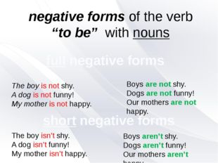 "negative forms of the verb ""to be"" with nouns The boy is not shy. A dog is no"