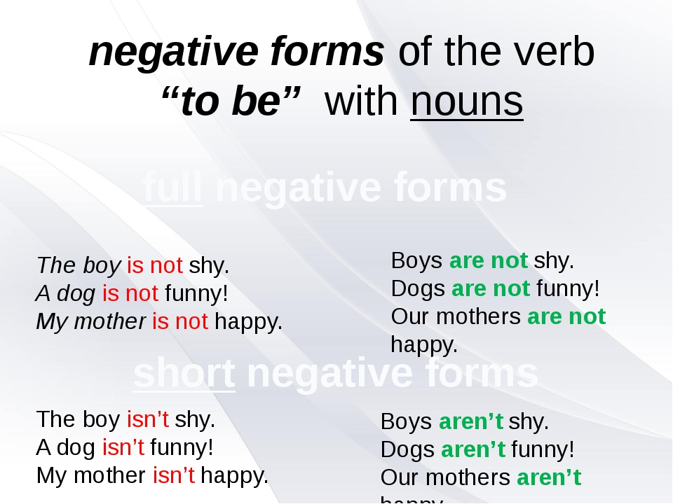 "negative forms of the verb ""to be"" with nouns The boy is not shy. A dog is no..."