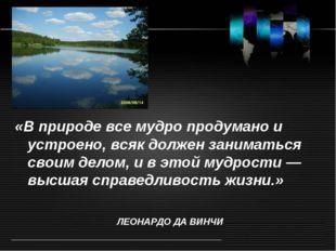 «В природе все мудро продумано и устроено, всяк должен заниматься своим делом