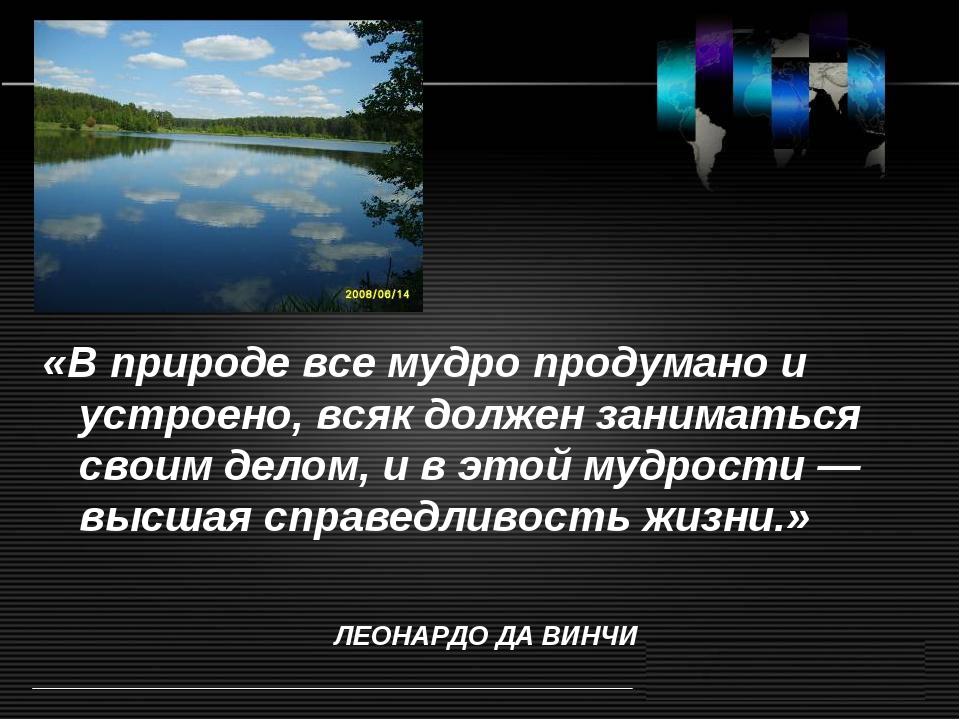 «В природе все мудро продумано и устроено, всяк должен заниматься своим делом...