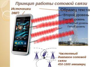 Принцип работы сотовой связи Частотный диапазон сотовой связи 450-1800 мегаге