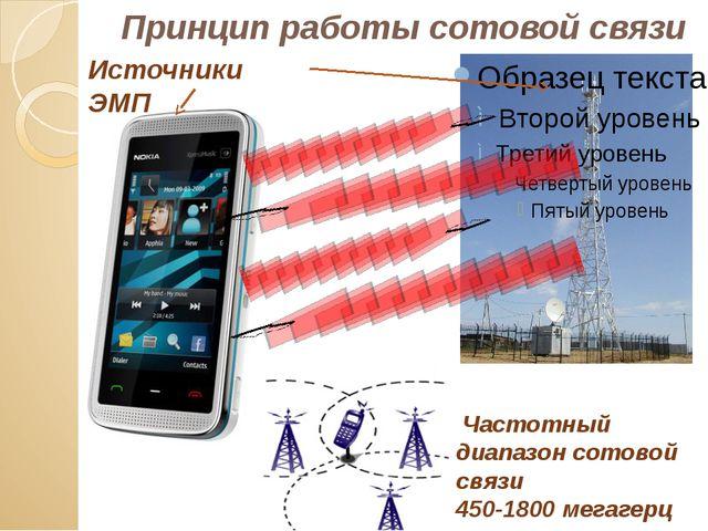 Принцип работы сотовой связи Частотный диапазон сотовой связи 450-1800 мегаге...