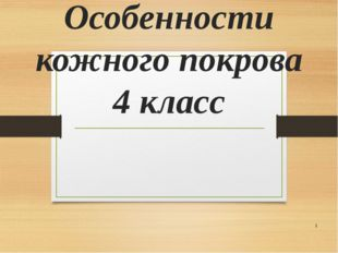 Особенности кожного покрова 4 класс *