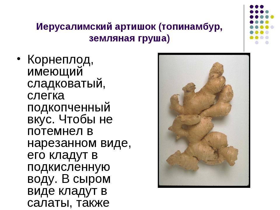 Иерусалимский артишок (топинамбур, земляная груша) Корнеплод, имеющий сладков...