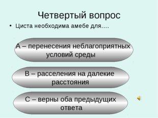 Четвертый вопрос Циста необходима амебе для…. А – перенесения неблагоприятных