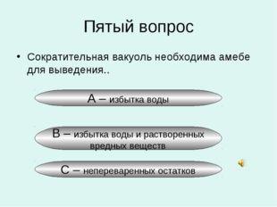 Пятый вопрос Сократительная вакуоль необходима амебе для выведения.. А – избы