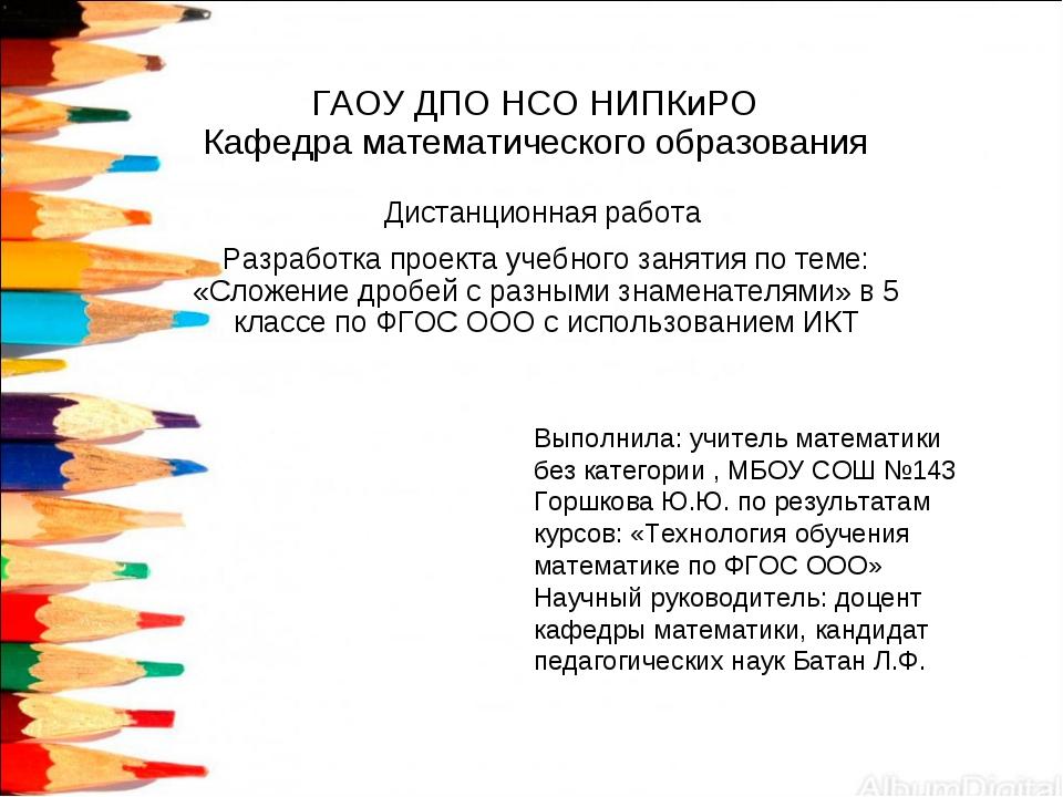ГАОУ ДПО НСО НИПКиРО Кафедра математического образования Дистанционная работа...