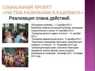 Обсуждение проблемы – 1-7 декабря 2012 г. Выявление наиболее актуальной пробл