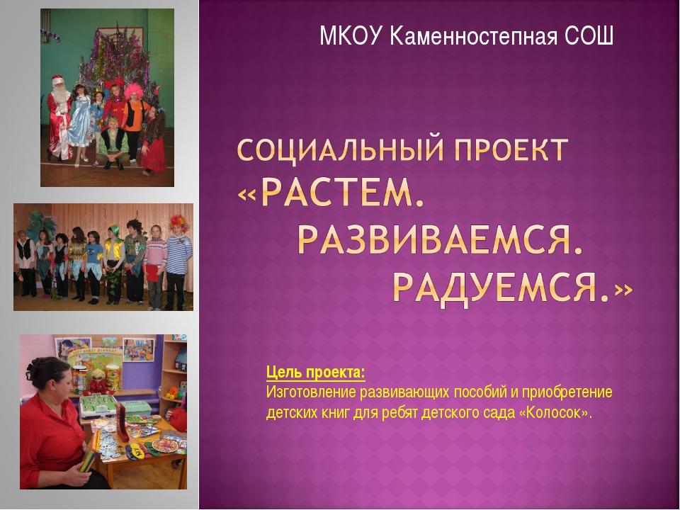 МКОУ Каменностепная СОШ Цель проекта: Изготовление развивающих пособий и прио...