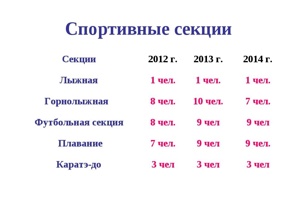 Спортивные секции Секции2012 г.2013 г.2014 г. Лыжная1 чел.1 чел.1 чел....