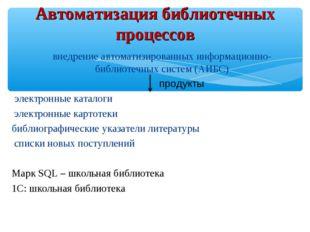 внедрение автоматизированных информационно-библиотечных систем (АИБС) продукт