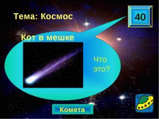 Комета 40 Тема: Космос Кот в мешке Что это?