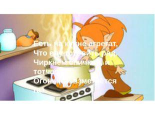 Есть на кухне агрегат, Что еду готовить рад. Чиркнем спичкой, и тотчас Огоньк