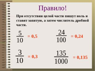 = 0,5 = 0,3 = 0,24 = 0,135 Правило! При отсутствии целой части пишут ноль и с