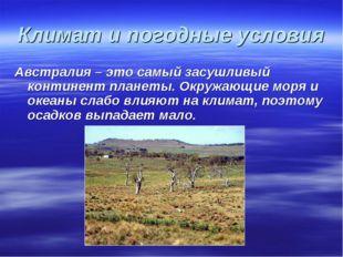 Климат и погодные условия Австралия – это самый засушливый континент планеты.