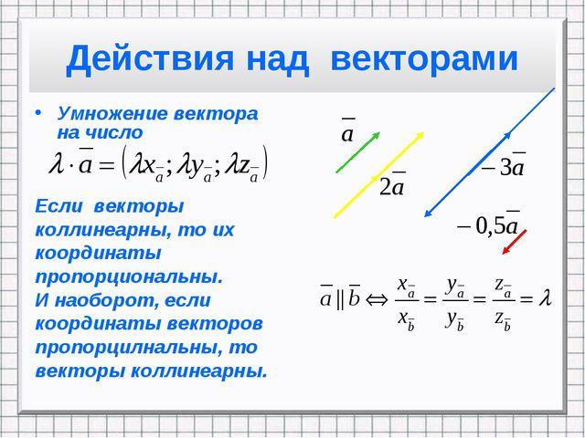 Действия над векторами Умножение вектора на число Если векторы коллинеарны, т...