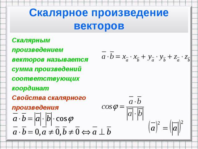 Скалярное произведение векторов Скалярным произведением векторов называется с...
