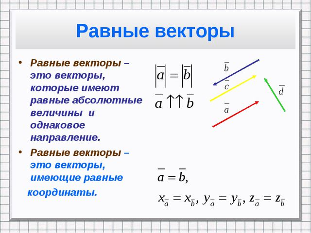 Равные векторы Равные векторы – это векторы, которые имеют равные абсолютные...