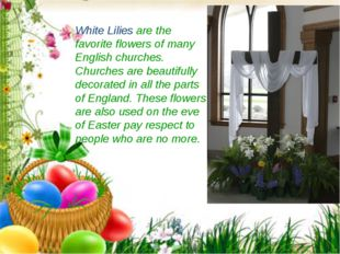 White Lilies are the favorite flowers of many English churches. Churches are