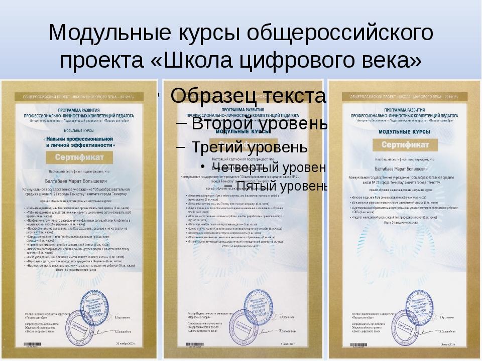 Модульные курсы общероссийского проекта «Школа цифрового века»