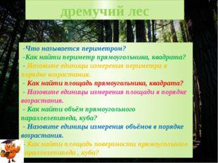дремучий лес -Что называется периметром? -Как найти периметр прямоугольника,