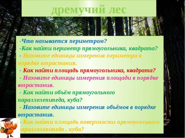 дремучий лес -Что называется периметром? -Как найти периметр прямоугольника,...