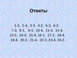 Ответы 1-3, 2-4, 3-3, 4-2, 5-3, 6-2, 7-3, 8-1, 9-3, 10-4, 11-4, 12-4, 13-2, 1