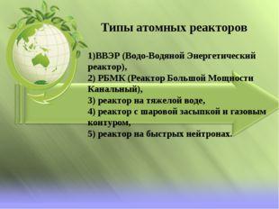 1)ВВЭР (Водо-Водяной Энергетический реактор), 2) РБМК (Реактор Большой Мощнос